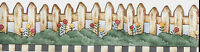 DEBBIE MUMM COUNTRY PICKET FENCE SMALL WALLPAPER BORDER
