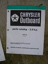 1980 Chrysler 3.5 HP Outboard Motor Parts Catalog Model 32 H0D MORE IN STORE  V