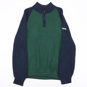 Vintage NAUTICA  Green Classic 1/4 Zip Cotton Plain Jumper Boys L
