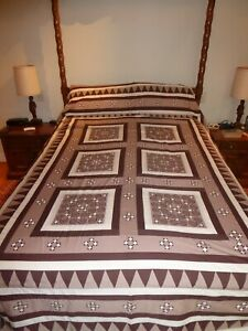 Vintage Queen Bedspread, Ivory, Taupe Brown, Hand Quilted, Patchwork, (S0