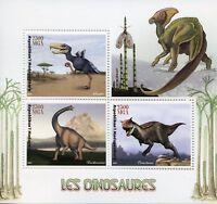 Madagascar 2017 MNH Dinosaurs Brachiosaurus Carnotaurus 3v M/S Stamps