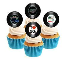 Novedad 50's Party Vinilo Colección 12 Comestibles Stand Up Oblea papel Cake Toppers