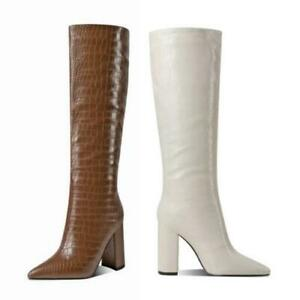 Ladies Knee High Boots Snakeskin Print Pointy Toe High Block Heel Casual Shoes L