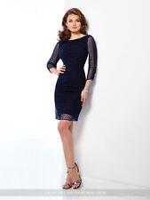 NEW Mon Cheri 216865 NAVY FULL PEARL BEADED  DRESS Size 12  Social Occasion