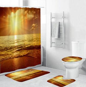 Golden Beach Shower Curtain Bathroom Rug Set Bath Mat Non-Slip Toilet Lid Cover