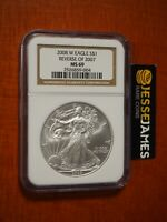 2008 W BURNISHED SILVER EAGLE NGC MS69 REVERSE OF 2007 DIE VARIETY BROWN LABEL