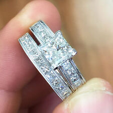 14K WHITE GOLD PRINCESS CUT DIAMOND ENGAGEMENT RING AND BAND 2.40CTW
