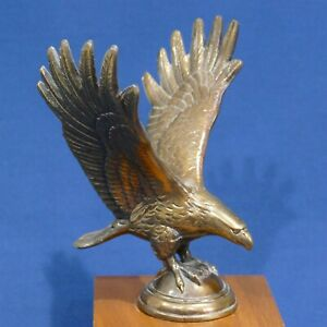 "Vintage Bronze Brass Color Metal Eagle Statue Open Wings ~ 7"" High 6"" Spread"