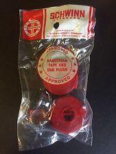 Schwinn Red Handlebar Flexon Tape Wrap With Chrome End Plugs Vintage NOS