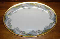 REPAIRED - Old Hand Painted PL Limoges France Platter - Fish & Water - 17 5/8""