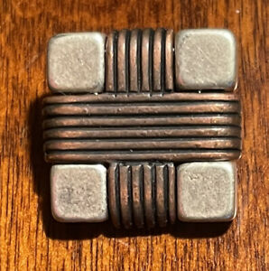 Two different metals, square button