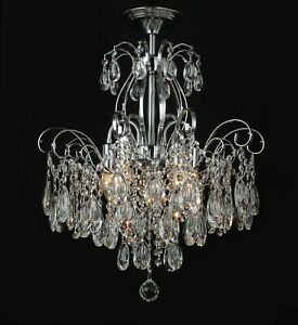 Am- Light French Style Chandelier Lights, Gold/Chrome Finish K9 Crystal A01-5