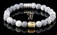 Jaspis weiß grau matt Armband Bracelet Perlenarmband Buddhakopf gold 8mm