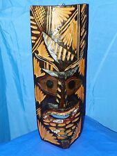 """TRIBAL TIKI MASK HAWAIIAN STYLE WOOD WALL PATIO TROPICAL ART 23"""" X 10"""""""