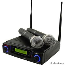 PYLE PROFESSIONAL 2 MIC 2 CHANNEL UHF DUAL CORDLESS WIRELESS MICROPHONE SYSTEM