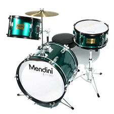 "MENDINI 16"" JUNIOR KID CHILD DRUM SET KIT W/ THRONE ~ METALLIC GREEN"