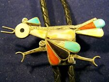 1967-1983 Zuni ROADRUNNER BOLO TIE Sterling Silver Multi Stone and Shells - WOW!