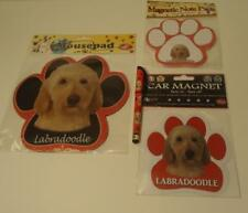Yellow Labradoodle Mixed Breed Dog Mousepad Notepad Car Magnet Pen 4 pc Gift Set