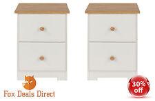 Bedside Cabinet Table PAIR White Oak Petite 2 Drawer Colorado Bedroom Furniture