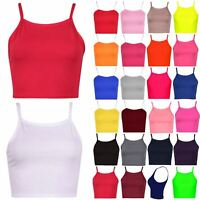 Ladies Womens Sleeveless Plain Camisole Strappy Stretch Vest Bra Cami Crop Top