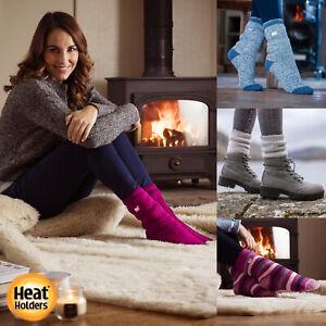 Heat Holders - Ladies / Womens Winter Warm 2.3 TOG Striped Twist Thermal Socks