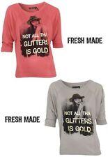 3/4 Arm Damen-T-Shirts mit Motiv aus Viskose