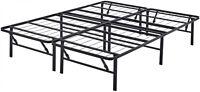 Platform Queen Size Bed Frame 14 Inch Mattress Foldable Metal Steel Heavy Duty