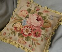 "16"" Square Wool Aubusson Needlepoint Pillow Sham Rose Floral Tassel Unique New"