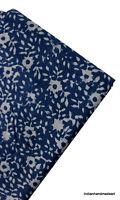IHA Sold By Yard Shibori Print Indigo Blue Cotton Fabric Indian Hand Block Print