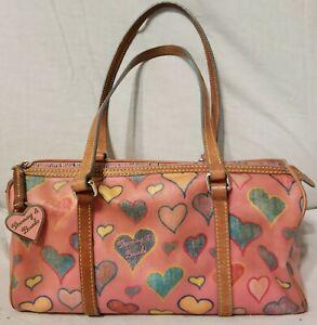 DOONEY & BOURKE Barrel Handbag Pink Satchel Hearts Excellent Condition H4 753248
