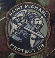 MODERN SAINT ST. MICHAEL PROTECT US ARMY FOREST VELCRO® BRAND FASTENER PATCH