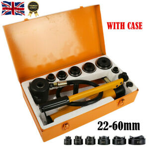 8 TON Hydraulic Knockout Hole Punch Driver Tool Set Kit 22mm-60mm w/ Metal Case