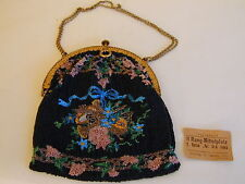 Antique Edwardian Bead Bag/Purse from Germany  comes with original Opera ticket!