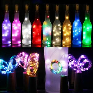 10 15 20 LED Solar Copper Cork Wire String Lights Wine Bottle Xmas Decor Lamp CA