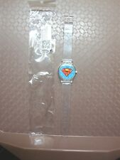 Watch Superman Logo on light blue background Clear plastic band Unisex ALL AGES