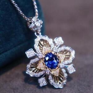 Vintage Natural Diamond Blue Sapphire Women Pendant Buccellati Solid 14K Gold