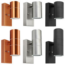 More details for dusk till dawn sensor outdoor single or up down wall light stainless steel ip65