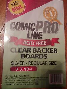 (5) COMIC PRO LINE Crystal CLEAR SILVER / REGULAR SIZE 60pt BACKER BOARD