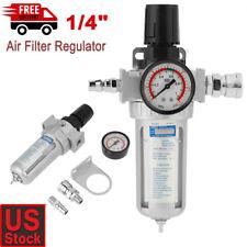 "1/4"" Air Compressor Filter Water Separator Trap Tools Kit With Regulator Gauge"