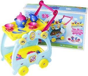 Peppa Pig Tea Set & Serving Trolley 2 in 1 Playset New Kids Xmas Toy Gift Age 3+