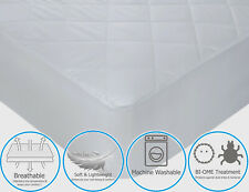Quilted Double Mattress Protector Poly Cotton Non-Allergenic Topper Fitted Cover