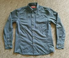EUC Simms Men's Button Down Long Sleeve Fly Fishing Shirt Color Blue Size Small