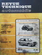 Revue technique RENAULT 14 VW VOLKSWAGEN COX COCCINELLE + UTILITAIR RTA 1977 368