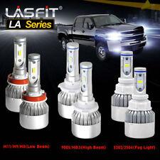 LASFIT Combo Pack LED Headlight Kit Fog Light for 2007-2015 Chevy Silverado 1500
