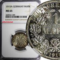 Germany-Empire Wilhelm II Silver 1915 A 1 Mark NGC MS65 Berlin Mint KM# 14