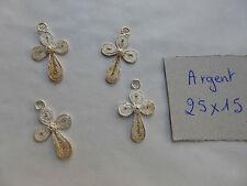 lot de 4 petite ancienne Croix  en argent  filigrané à nettoyer pendentif bijou