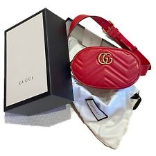 Gucci GG Marmont quilted leather belt bag Red