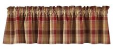 Country Hearthside Valance 72X14 Wine Brown Mustard Tan Plaid Cotton