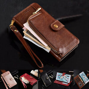 Stylish Flip PU Leather Zipper Purse Cash Wallet Phone Case For Huawei Y6 Y72019