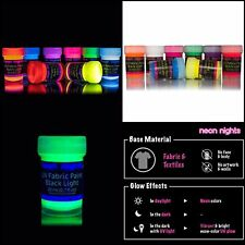 Neon Glow In The Dark Fabric Clothes Paint Party Premium Quality Painting 8 Set